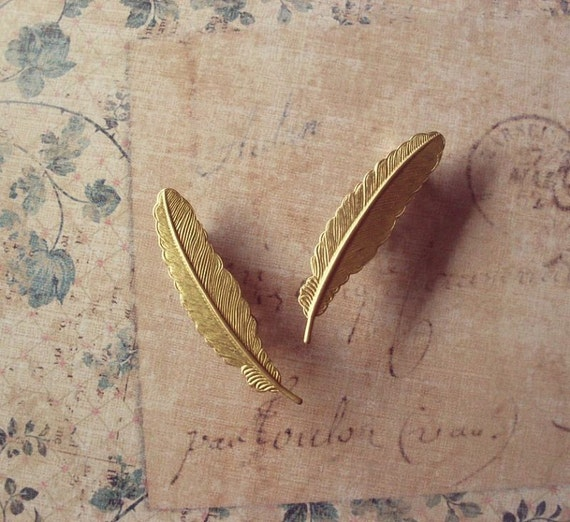 Feather Barrettes Gold Bridal Hair Clips Free Spirit Tribal Boho Bohemian Festival Accessories Rustic Woodland Wedding Vintage Style Gift