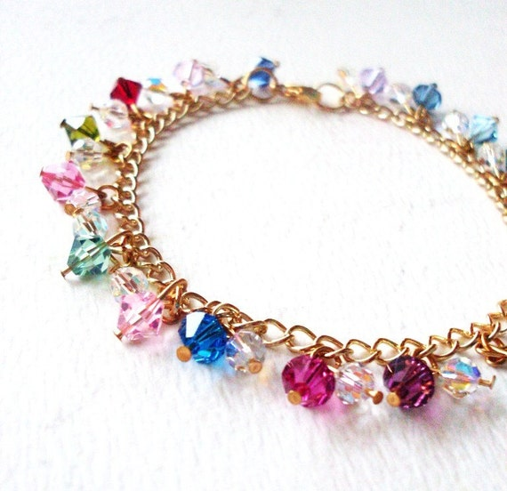 Rainbow Crystal Bracelet Swarovski Charm Jewelry Multicolor Multicolour Colorful Colourful Bridal Weddings Girlfriend Womens Gift For Her