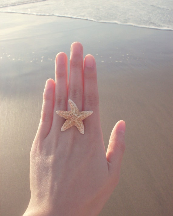 Starfish Ring Mermaid Jewelry Ariel Costume Nautical Bridesmaid Ocean Sea Beach Boho Destination Wedding Accessories Wife Womens Gift Summer