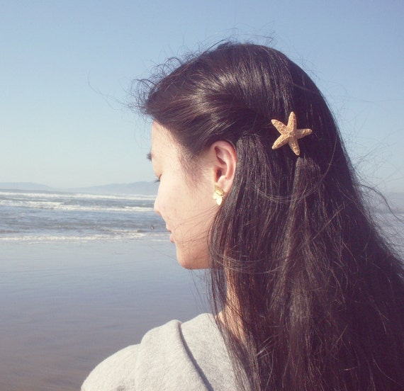 Starfish Barrette Mermaid Hair Clip Ariel Costume Sea Star Nautical Ocean Beach Wedding Accessories Girls Girlfriend Womens Gift Summer