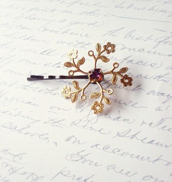 LAST ONE - Gold Flower Hair Pin - Gold Flower Bridal Hair Pin - Gold Flower Bobby Pin Purple Crystal Flower Hair Pin Bridal Hair Accessories