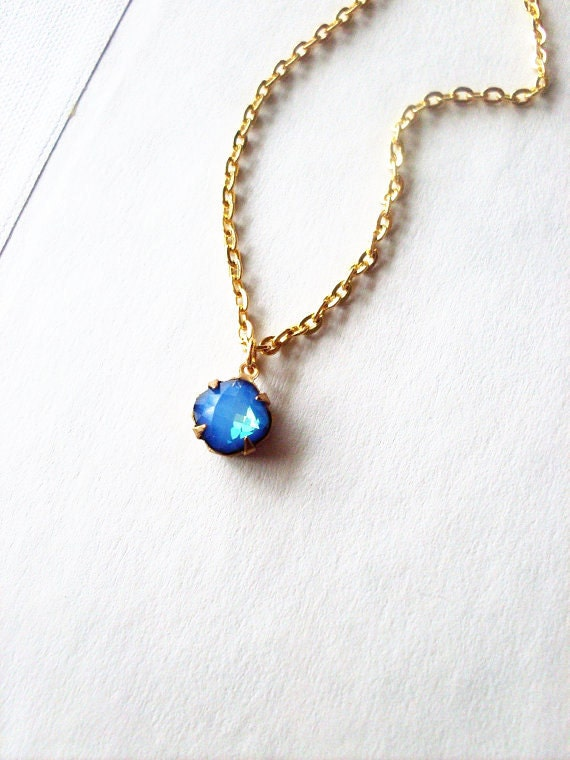 Blue Swarovski Crystal Necklace - Blue Crystal Necklace Blue Crystal Charm Necklace Something Blue Bridal Necklace Blue Wedding Necklace