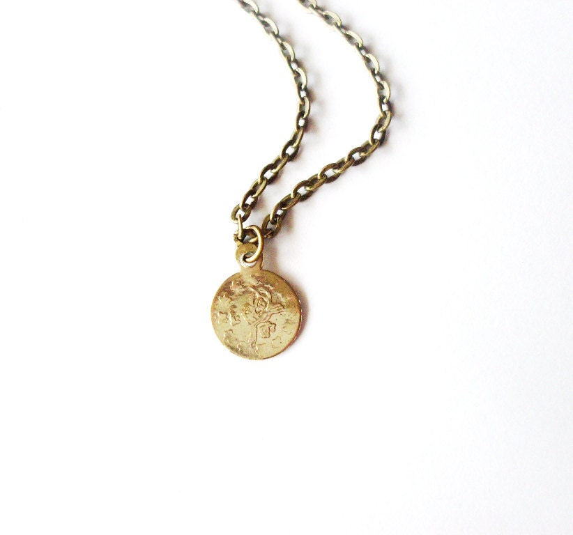 coin necklace small gold jewelry tiny charm boho pendant