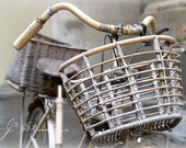 bike basket photo, bamboo bicycle,  fine art photograph print, earth tones, neutral colors, italy photography