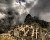 peru photography, machu picchu pictures, ancient ruins in peru, storm clouds, incan trail, world wonder landscape, fine art print