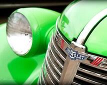 vintage chevy photograph, 40s 50s automobile, fine art photography print, pastel lime green