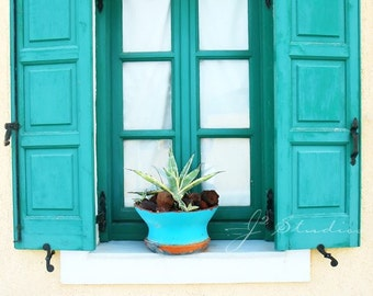 aquamarine window photograph, window photography, fine art print, mediterranean, open wooden shutters yellow house, santorini greece