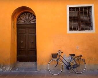 bicycle photograph, bike photo, fine art print, pastel orange, navy blue, pictures of Piza