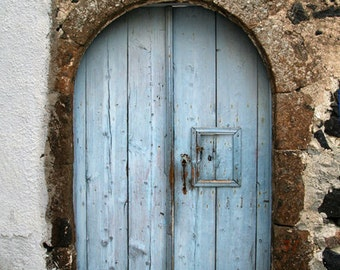 blue door photo, door photography, fine art print, light blue weathered door, greek masonry, santorini greece