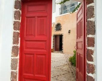 door photograph, fine art photography print, crimson red wooden door, greece art