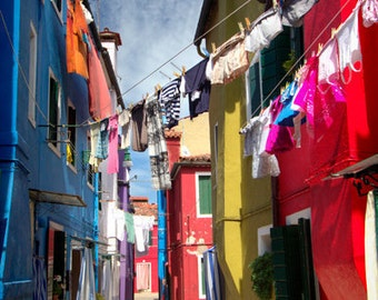 laundry in burano, laundry room decor,  fine art print, italy photography, colorful architecture, drying clothes