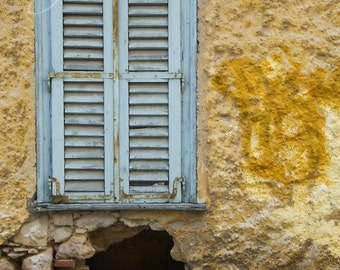Rundown, Window Shutters Photo, Fine Art Photography Print,  Baby Blue Weathered Window, Pictures of Athens