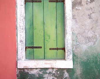 window photo, colorful wall, fine art photography print, weathered wall, asparagus green, closed window shutter, italy art