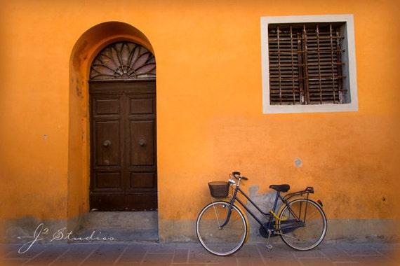 bicycle photograph, bike photo, fine art print, pastel orange, navy blue, pictures of Piza