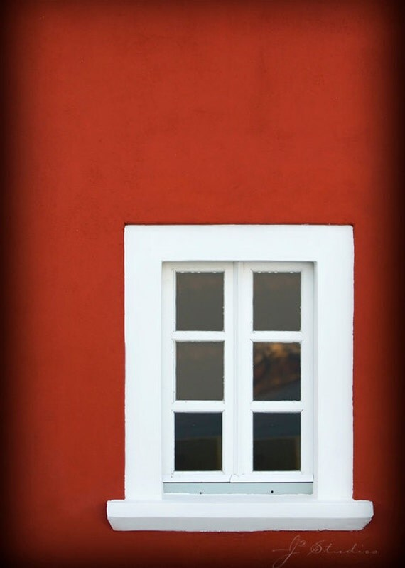 Reflection in Santorini,  Window Photography, Fine art print, Auburn red home white multi panel window Fira Santorini