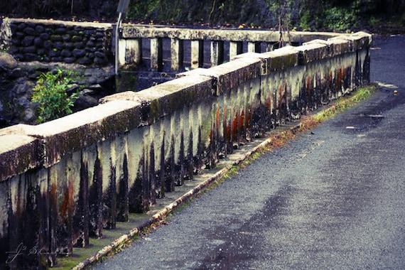 A Bridge Worn By Time, Fine Art Photography Print, Weathered Mossy Bridge Character Road Hana Highway Maui Hawaii