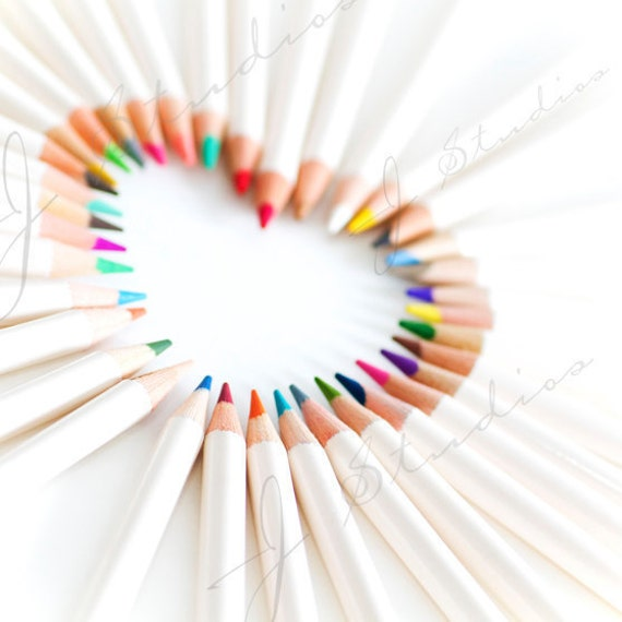 crayon's heart,  pencil crayon photograph, square fine art photography print, rainbow pastel, themes of innocence