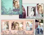Accordion Mini Album Photoshop Templates For Photographers 4X8 - Floral Softness Memory, Teal Cover - No 389