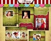 Christmas Card Templates - Holiday Photo Photoshop PSD For Photographers - Splendid Velvet Christmas - PK-017 - 5X7