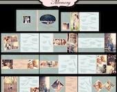 Wedding Guestbook Photo Album Book 12X12, 10X10 - Photoshop PSD Files - No 470 - Vintage Wedding Blue