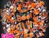 Boo to you too Halloween Rag Wreath