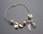 Angel Wing Orchid and pearl Bracelet sterling silver Flower Girls Bridesmaids Sisters