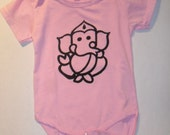 Baby Onesie Hindu God Ganesha Girls T-shirt Yoga Bodysuit 18 to 24 Months Silk Screen Print