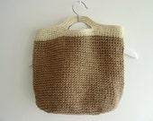 Hand Crochet Linen Pouch Bag