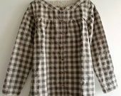 Linen Cotton Tunic in Brown Checks with Wooden Buttons