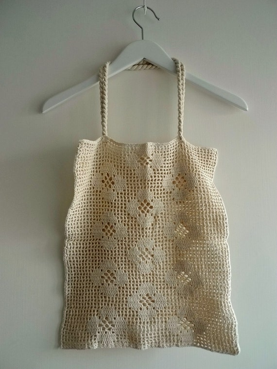 Cotton Crochet Shopping Bag by SundayFactory on Etsy