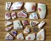 20 Scottish Sea Pottery Supplies - Beach Pottery Pink (522)