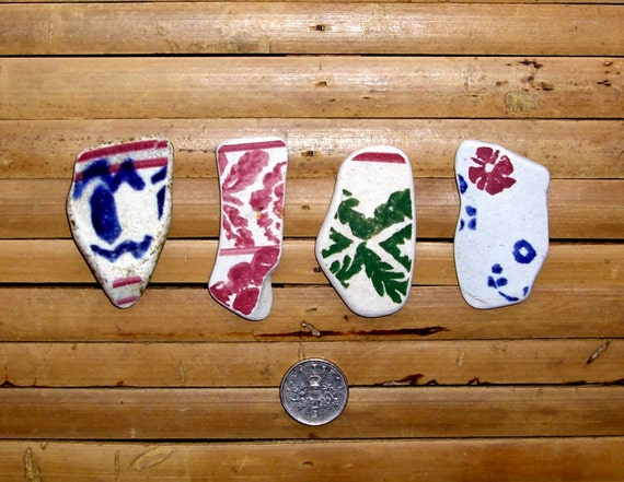 4 Large Coloured Sea Pottery Shards - Pink Blue Green - Jewelry Supplies (374)