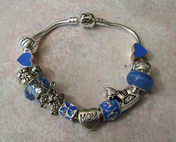 Blue Pandora Style New Mom Baby Boy Or Baby By Treasureslane