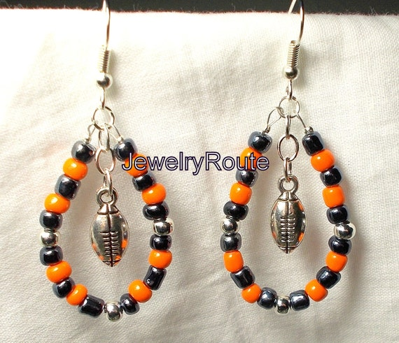 SALE Dark Navy Blue and Orange with Antique Silver Football Charms Czech Glass Beaded Dangle Hoop Earrings Surgical Steel Hooks Available