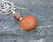 Upcycled Button Pendant in Neutral Brown