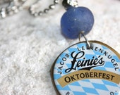 Leine's Beer Bottle Cap and Recycled Blue Glass Bead Pendant