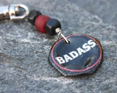 Upcycled Keychain- Beer Cap and Recycled Red and Black  Glass Beads