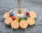 Cork Wine Charms with Recycled Glass Beads in Multi-Colors