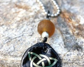 Beer Cap Necklace- Upcycled Jewelry with Recycled Glass Beads