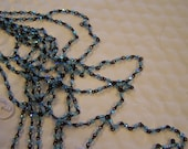 Rosary chain, Aqua Czech 4mm  round crystals are fire polished AB coating, on black chain