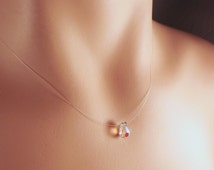Crystal Aurora Borealis Teardrop Invisible Illusion Necklace- Prom Jewelry- Magnet Clasp or Spring Ring Clasp