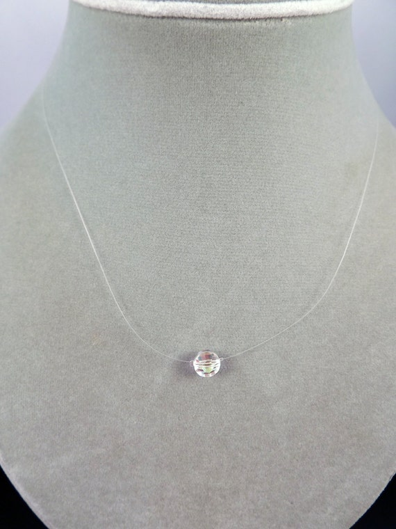 Swarovski Crystal Ab Coin- Vintage Crystal- Invisible Necklace- Limited Quantities-Discontinued Crystal