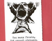 Too many freaks pack of 5 blank note cards