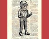 Vintage deep sea diver - upcycled 8x10 1898 dictionary page print - BONUS - Buy 3 Prints, Get 1 More For FREE