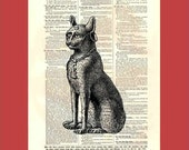 Bastet the Egyptian Cat Goddess (egypt6) - upcycled 8x10 1898 dictionary page print - BONUS - Buy 3 Prints, Get 1 More For FREE