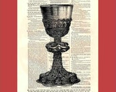 Chased and Engraved Chalice - upcycled 8x10 1898 dictionary page print - BONUS - Buy 3 Prints, Get 1 More For FREE