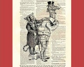 Vintage Camel Client Being Measured by a Tiger Tailor - upcycled 8x10 1898 dictionary page print - BONUS - Buy 3 Prints, Get 1 More For FREE