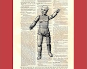 Vintage Sad, Naked, Bald Dolly (doll2) - upcycled 8x10 1898 dictionary page print - BONUS - Buy 3 Prints, Get 1 More For FREE