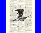 Limited Edition Gold Series - Freedom - printed on an  8x10 upcycled 1898 dictionary page with genuine 22kt gold embellishments