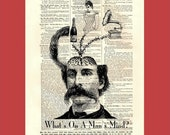 What's On A Man's Mind - original digital collage  - upcycled 8x10 1898 dictionary page print - BONUS - Buy 3 Prints, Get 1 More For FREE